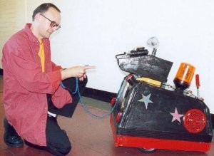 Martin with Mascot the Robot Dog
