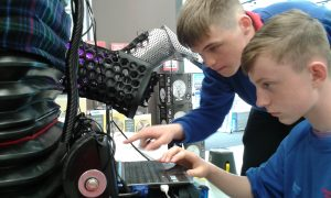 Ethan and Kelly set up the 8 Foot Robot Cat in Maplin Store in Swansea