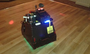 Mascot the Robot Dog in Bridgend School Disco