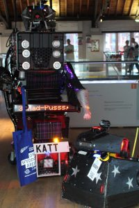 8 Foot Robot Cat and Mascot the Robot Dog at National Waterfront Museum, Swansea