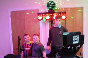 DJ Ethan with some helpers at Longford Memorial Hall, Skewen