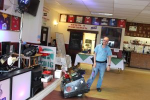 DJ Martin with Mascot the robot dog at Llandovery RFC Children's Party