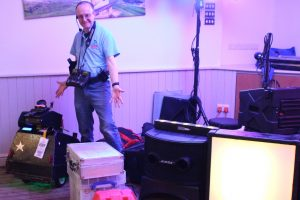 Children's Entertainer Martin Thompson with Mascot the Robot Dog in New Minerton Holiday Park in Tenby