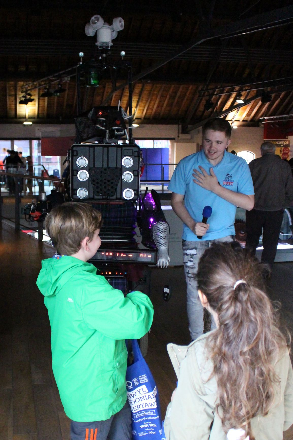 The 8 Foot Robot Cat with Roboteer Corey Perrett at the National Waterfront Museum with The Swansea Science Festival 2018