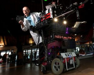 8-Foot-Robot-Cat and Martin Thompson at Swansea Science Festival in National Waterfront Museum