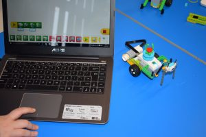 Lego Education Kits with a laptop doing coding